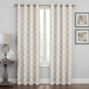 Regent Court 1-Panel Embroidered Lattice Window Curtain