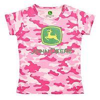 Girls 4-6x John Deere Logo Crewneck Tee