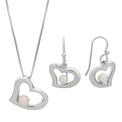 PearLustre by Imperial Freshwater Cultured Pearl Heart Pendant & Drop Earring Set