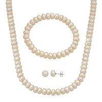 PearLustre by Imperial Freshwater Cultured Pearl Necklace, Stretch Bracelet & Stud Earring Set