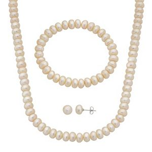 Cultured Pearl Crystal Necklace Stud Earring Set 5 Regular