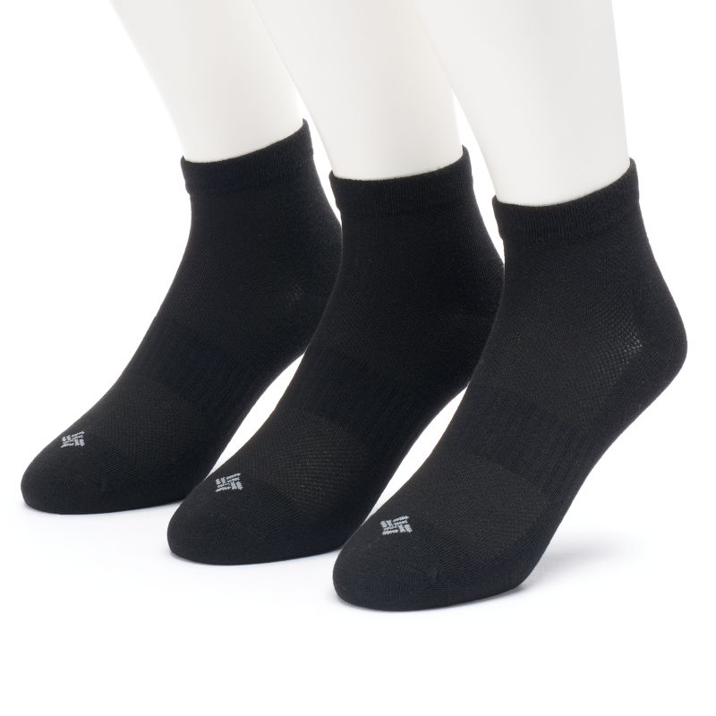 Men's Columbia 3-pack Flat-Knit Quarter Socks, Size: 10-13, Black 73582813