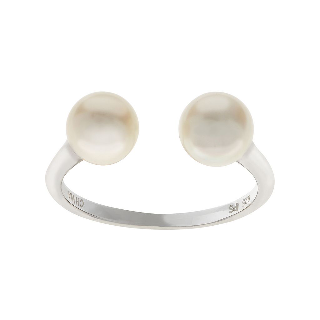 PearLustre by Imperial Sterling Silver Freshwater Cultured Pearl Open Ring
