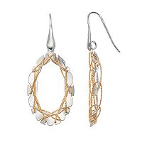 Two Tone Sterling Silver Wire Oval Drop Earrings