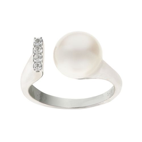 PearLustre by Imperial Sterling Silver Freshwater Cultured Pearl & White Topaz Open Ring