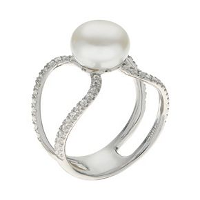 PearLustre by Imperial Sterling Silver Freshwater Cultured Pearl & White Topaz Openwork Ring