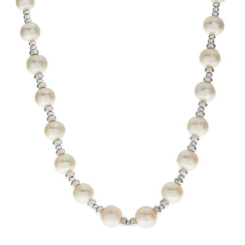 PearLustre by Imperial Sterling Silver Freshwater Cultured Pearl Station Necklace