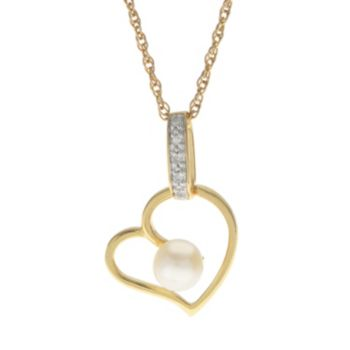 PearLustre by Imperial 14k Gold Over Silver Freshwater Cultured Pearl & Diamond Accent Heart Pendant
