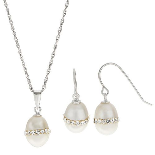 PearLustre by Imperial  Freshwater Cultured Pearl & Crystal Pendant & Drop Earring Set
