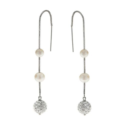 PearLustre by Imperial Freshwater Cultured Pearl & Crystal Threader Earrings