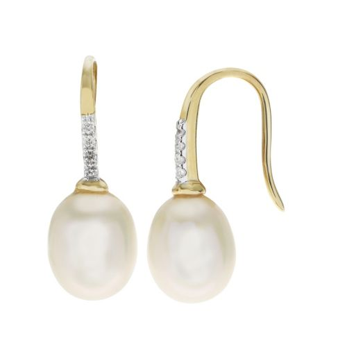 PearLustre by Imperial 10k Gold Freshwater Cultured Pearl & White Topaz Drop Earrings