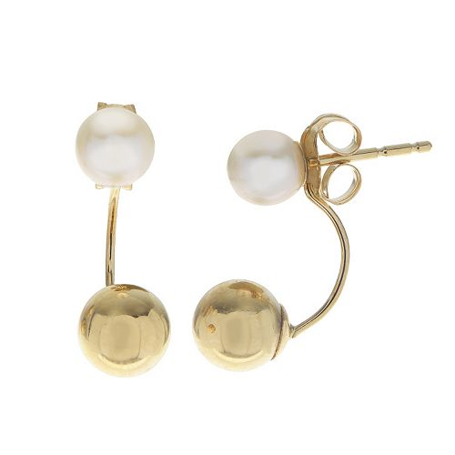 PearLustre by Imperial 10k Gold Freshwater Cultured Pearl Front-Back Drop Earrings