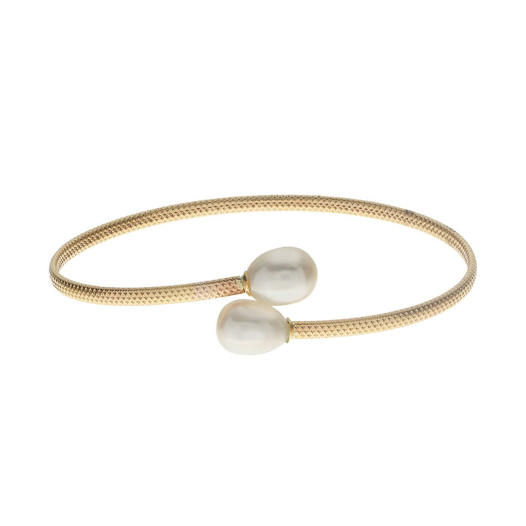 PearLustre by Imperial 10k Gold Freshwater Cultured Pearl Flexible Bangle Bracelet