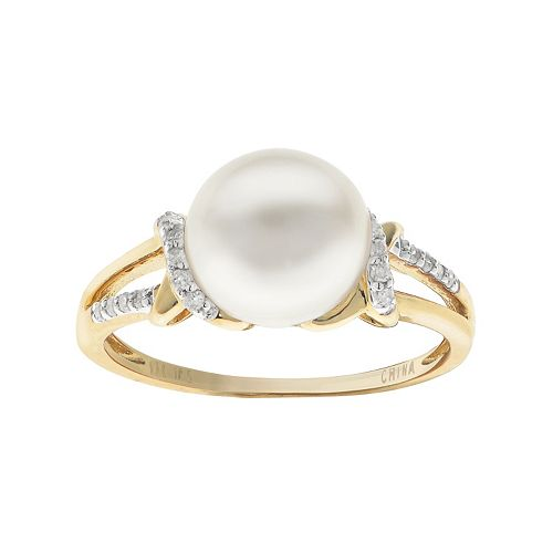 PearLustre by Imperial 10k Gold Freshwater Cultured Pearl & 1/10 Carat T.W. Diamond Ring