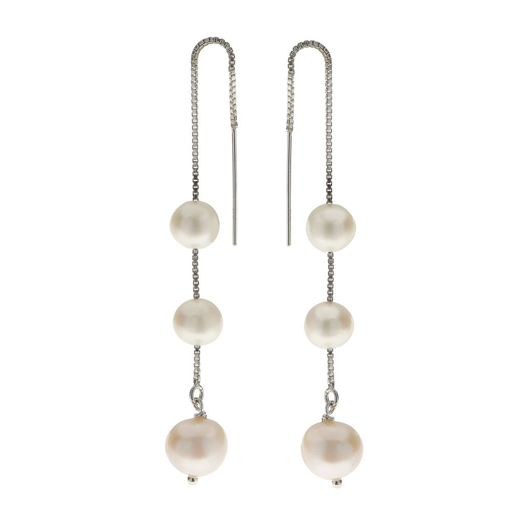 PearLustre by Imperial Sterling Silver Freshwater Cultured Pearl Threader Earrings