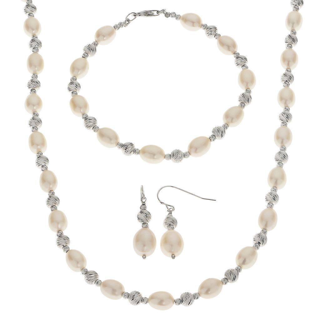 PearLustre by Imperial Freshwater Cultured Pearl Necklace, Bracelet & Drop Earring Set