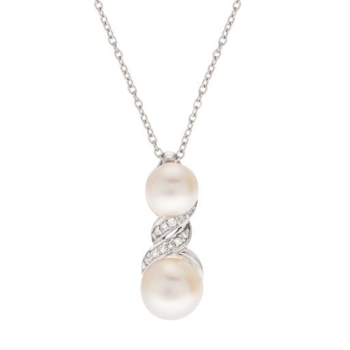 PearLustre by Imperial Diamond Accent & Freshwater Cultured Pearl Pendant