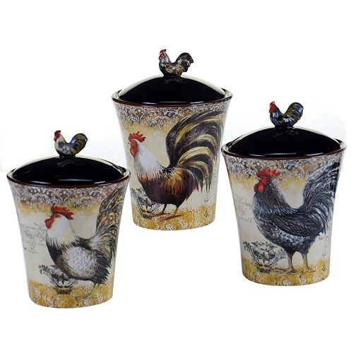 Certified International Vintage Rooster 3-pc. Kitchen Canister Set