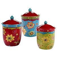 Certified International Tunisian Sunset 3 pc Kitchen Canister Set
