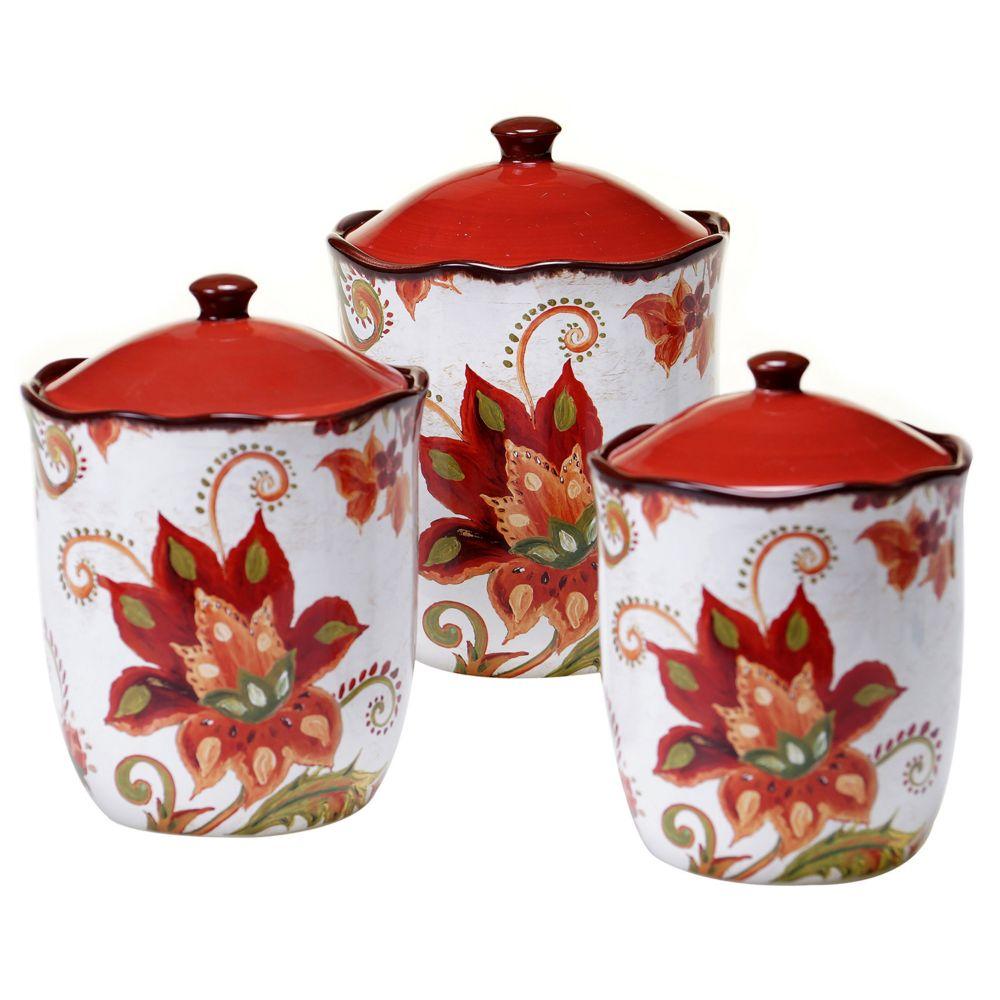 international spice flowers 3 pc kitchen canister set