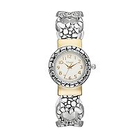 Vivani Women's Two Tone Textured Heart Link Cuff Watch