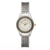 Vivani Women's Two Tone Chain Textured Cuff Watch