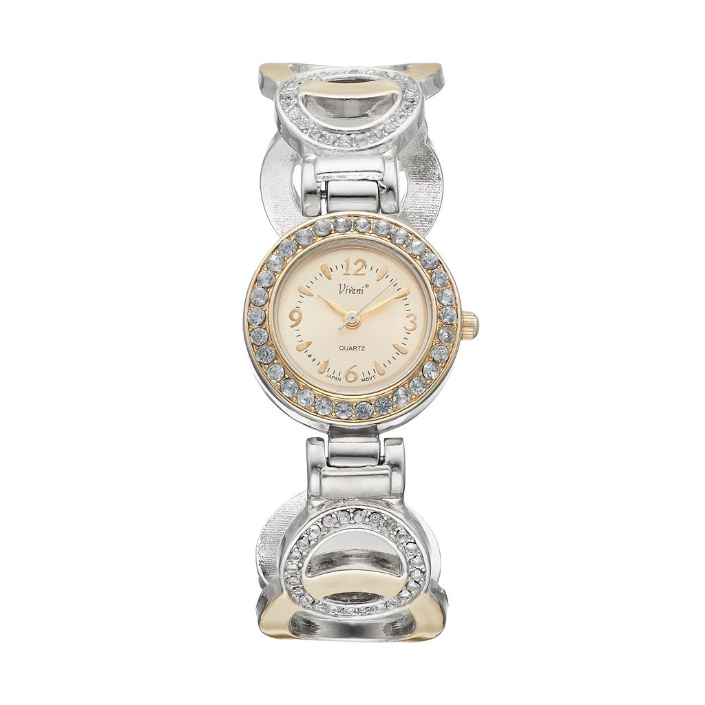 Vivani Women's Crystal Two Tone Round Link Cuff Watch