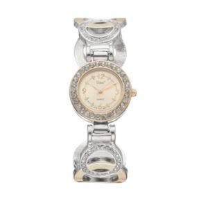 Vivani Women's Crystal Two Tone Round Link Cuff Watch