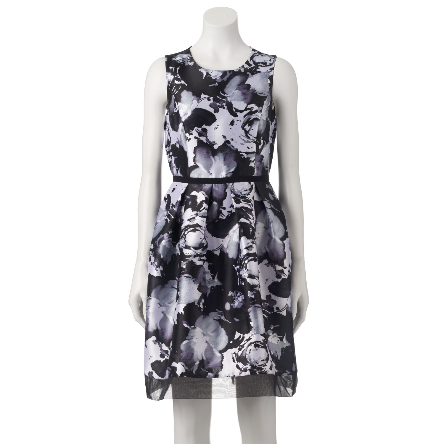 Womens Donna Ricco Pleated Floral Fit & Flare Dress