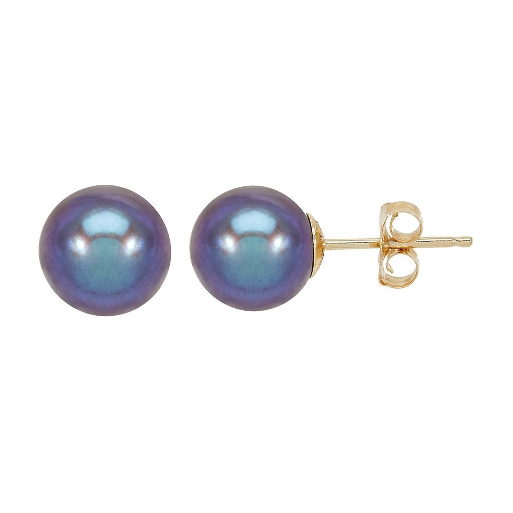 Freshwater by HONORA 8 mm Dyed Freshwater Cultured Pearl Earrings