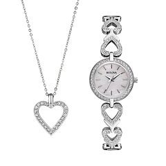 Bulova Women's Crystal Stainless Steel Watch & Heart Pendant Necklace Set - 96X136