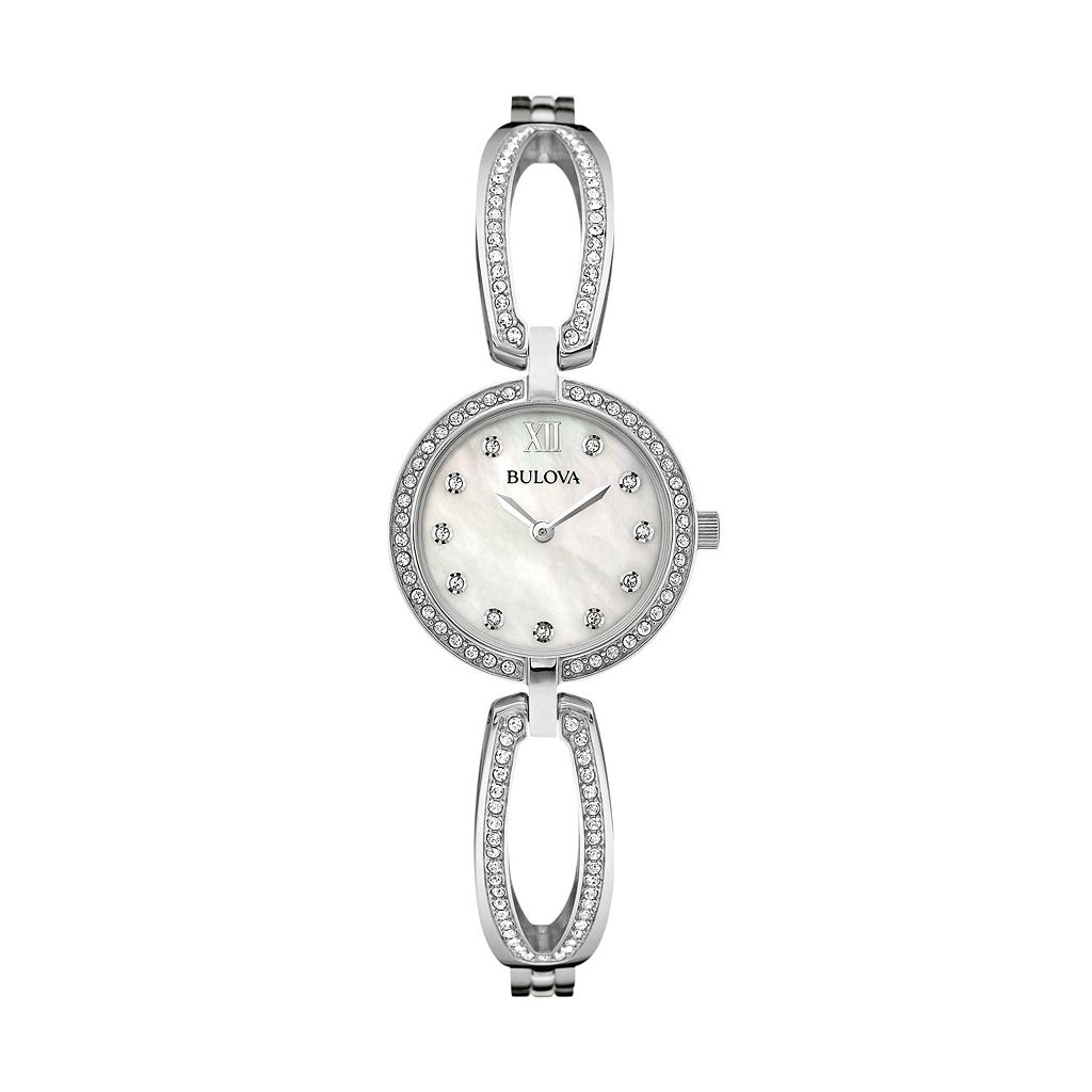 Bulova Women's Crystal Stainless Steel Bangle Watch