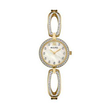 Bulova Women's Crystal Stainless Steel Bangle Watch - 98L225