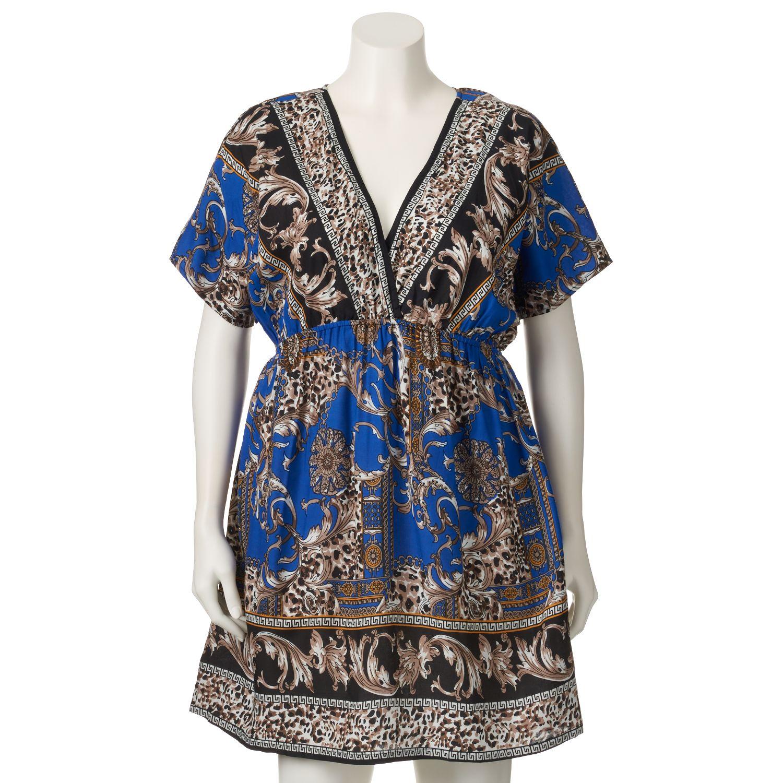 Juniors Plus Size Stevie & Lindsay Geometric V-Neck Dress