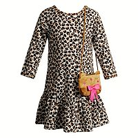 Toddler Girl Youngland Leopard Drop-Waist Dress with Animal Purse