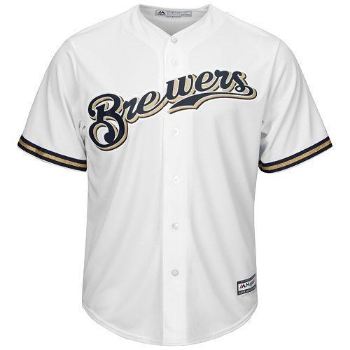 Big & Tall Majestic Milwaukee Brewers Cool Base Replica Jersey