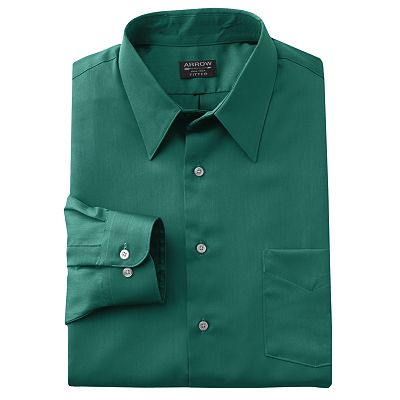 Arrow Fitted Sateen Solid Point-Collar Dress Shirt