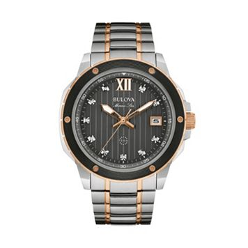 Bulova Men's Marine Star Diamond Two Tone Stainless Steel Watch - 98D127