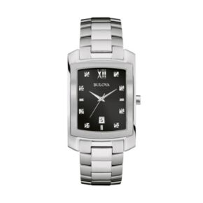 Bulova Men's Diamond Stainless Steel Watch - 96D125