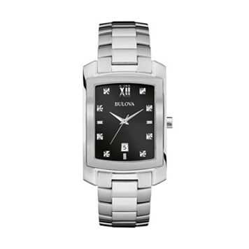 Bulova Men's Diamond Stainless Steel Watch - 96D125