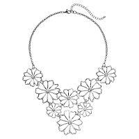 Openwork Flower Bib Necklace