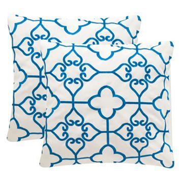 Safavieh Nadia Embroidered Indoor Outdoor Throw Pillow 2-piece Set