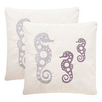 Safavieh Seahorse Embroidered Indoor Outdoor Throw Pillow 2-piece Set