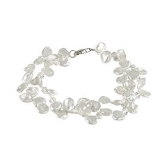 Sterling Silver Freshwater Cultured Pearl & Austrian Crystal Bracelet