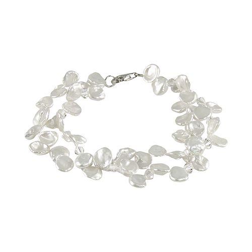 Sterling Silver Freshwater Cultured Pearl & Austrian Crystal Bracelet