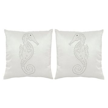 Safavieh Mooching Seahorse Embroidered Throw Pillow 2-piece Set