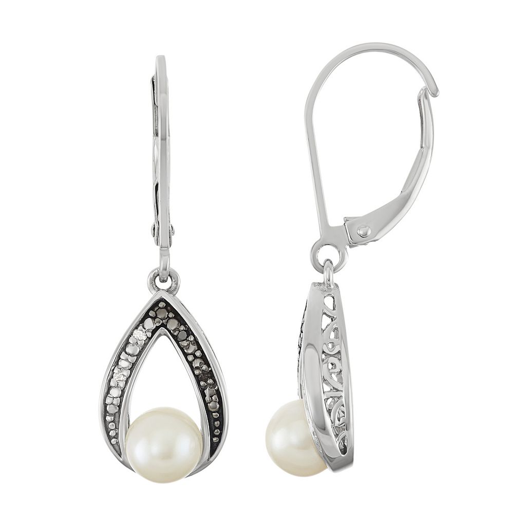 Sterling Silver Freshwater Cultured Pearl & Diamond Accent Teardrop Earrings