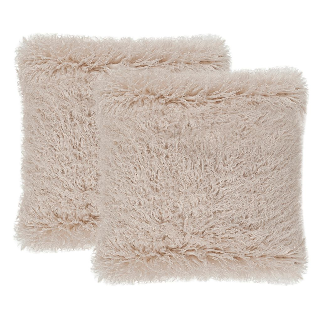 Safavieh Faux Sheepskin Throw Pillow 2-piece Set