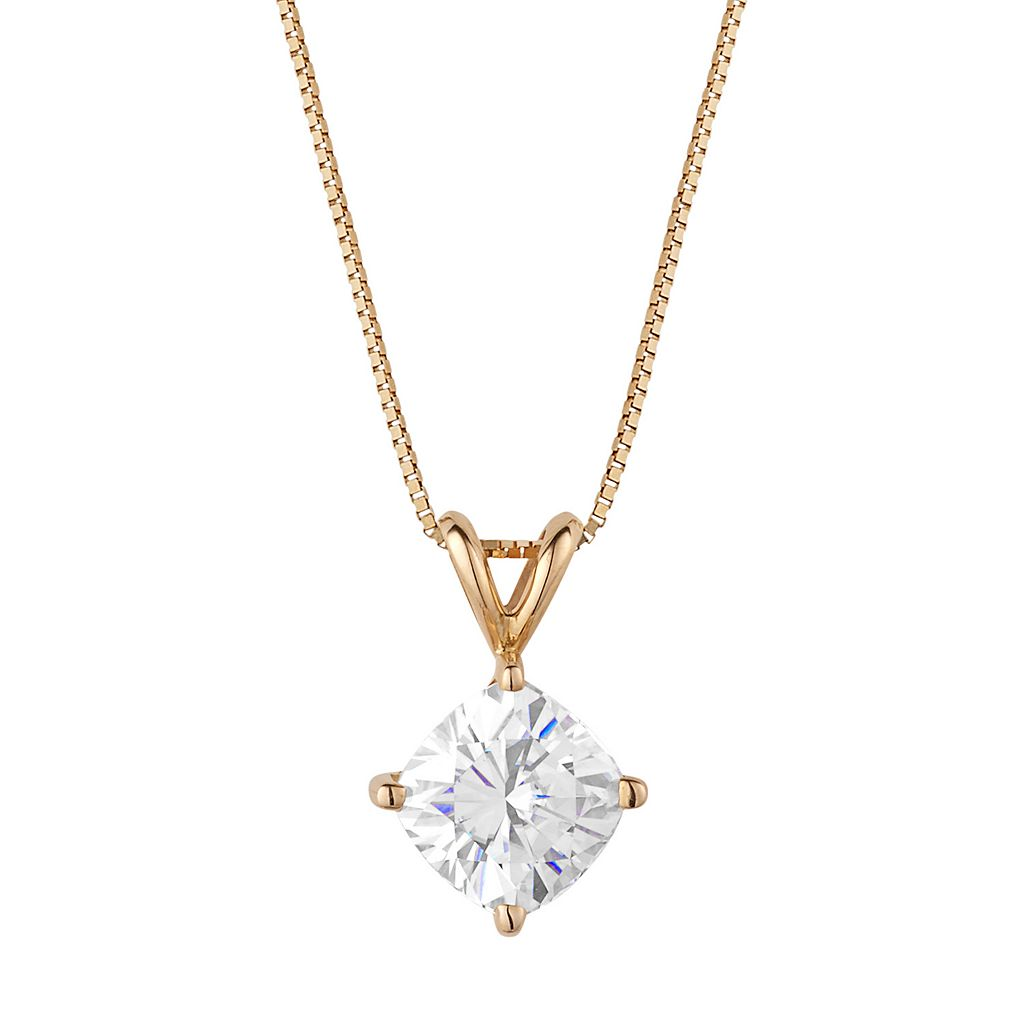 Forever Brilliant 14k Gold 1 3/4 Carat T.W. Lab-Created Moissanite Pendant