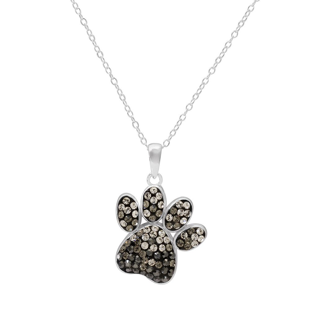Hue sterling silver crystal dog paw print pendant necklace aloadofball